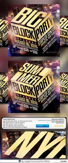 Block Party — Photoshop PSD #romacmedia #skyscrapers • Available here → https://graphicriver.net/item/block-party/15871939?ref=pxcr