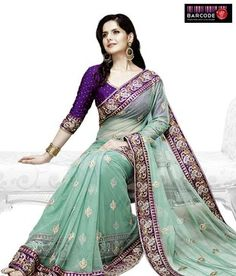 Designer Wear Sea Green And Purple Net-Raw Silk Saree http://www.snapdeal.com/product/women-apparel-sarees/DesignerWe-86814?pos=3;1219?utm_source=Fbpost_campaign=Delhi_content=189185_medium=180512_term=Prod