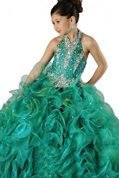 2016 New Cute Girl's Pageant Dresses With Halter Ruffles Beads Rhinestone Ball Gown Falbala Floor Length Organza Flower Girl Child Gowns