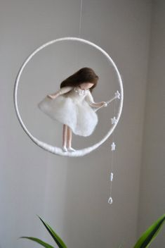 Wool doll /Nursery Mobile / Wall Hanging Waldorf inspired : White fairy with…