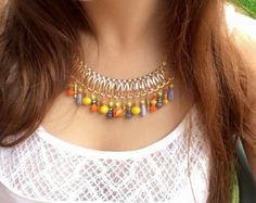Orange, grey and yellow golden necklace, glass and crystal beads, colourful short necklace, boho style necklace, bohemian, hippie #bibnecklace #colorfulnecklace #bohonecklace