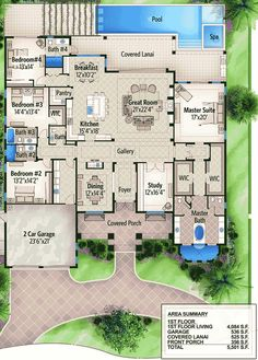 One Story Four Bed Beauty - 65614BS   Florida, Southern, Luxury, Photo Gallery, Premium Collection, 1st Floor Master Suite, Butler Walk-in Pantry, CAD Available, Den-Office-Library-Study, PDF, Split Bedrooms   Architectural Designs