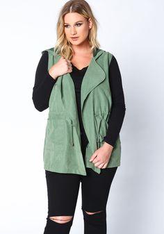 Plus Size Olive Suede Drawstring Anorak Vest Unique Plus Size Clothing, Plus Size Outfits, Hooded Jacket, Cute Outfits, Vest, Denim, Jackets, Clothes, Shopping