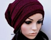 Hand knit hat - Chunky Wool Hat in wine/ burgundy