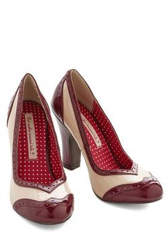 Editor's Choice Heel in Wine. Selecting your favorite piece for this issue is not an easy decision - unlike the clear choice to don these two-toned pumps by Bait Footwear! #red #modcloth