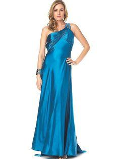 One-Shoulder Floor Length Ice Blue Satin Evening Dress