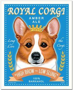 Pembroke Corgi Art Royal Corgi Amber Ale by RetroPetsGallery