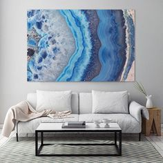 Mineral Photography - (Print Blue Lace Agate Slice - Fine Art Print - Two Paper Choices- Mineral Geode Agate Crystal Decor Blue Things blue color room meaning Crystal Decor, Blue Lace Agate, Trendy Home, Art Design, Interior Design, Design Ideas, Resin Art, Rock Art, Painting Inspiration