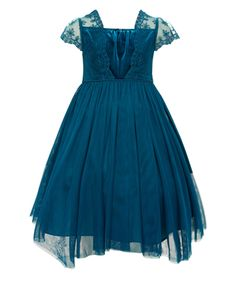 Our beautiful Kimberley dress for girls is adorned with a velvet and mesh lace bodice, and a layered tulle skirt that moves beautifully. The silky-soft satin sash ties to a bow at the back. Features a zip fastening.