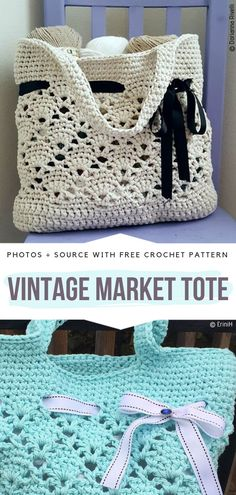 Vintage Market Tote Free Crochet Pattern    #crochetbag