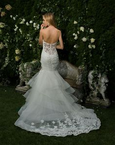 eve of milady fall 2016 bridal strapless sweetheart neckline ruched bodice floral embroidered layered skirt mermaid wedding dress chapel train bv -- Eve of Milady Fall 2016 Wedding Dresses Eve Of Milady Wedding Dresses, 2016 Wedding Dresses, Wedding Dress Styles, Wedding Gowns, 2017 Wedding, Wedding Attire, Boho Wedding, Bridal Dresses Online, Bridal Gowns