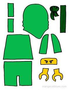Lego Ninjago printable cutout for toddler gluestick art: The Green Ninja, Lloyd