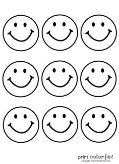9 happy faces | Print. Color. Fun! Free printables, coloring pages, crafts, puzzles & cards to print