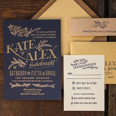 Brides.com: . Custom navy and gold letterpress wedding invitation, stamped with gold foil details, starting at $3,000 for 100 invitation suites, Ladyfingers Letterpress