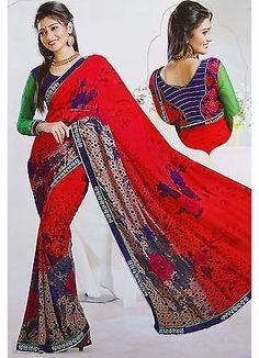 LATEST FASHION SARI RED GEORGETTE SAREE WITH BLOUSE ELEGANT INDIAN CLOTHING | eBay