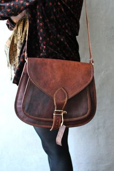 Leather Cross body messenger bag  via Etsy.