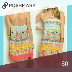🌸BOTIQUE💮CHIC🌸 💮BOUTIQUE  CHIC💮CORAL TRIBAL/FLORAL FEATURES HALTER NECK, FITTED WAIST, LINED, FIT & FLARE  STYLE. BRIGHT, BOLD, VIBRANT COLORS  WILL MAKE THIS YOUR FAVORITE SUMMER GO TO DRESS! 🌸 * *POLY Dresses