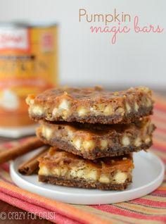 Pumpkin Magic Bars | A Fall twist on a magic bar! | crazyforcrust.com | #pumpkin