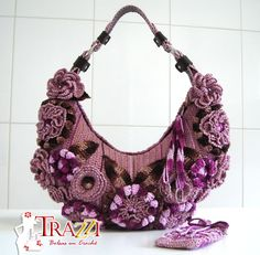 Crochet lavender floral bag love!