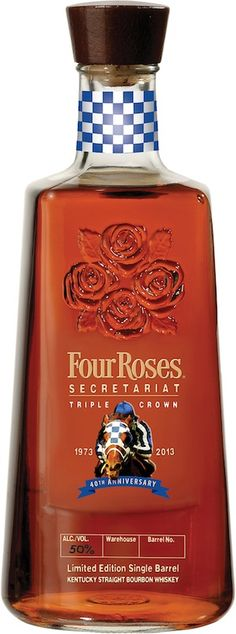 Four Roses Secretariat Single Bourbon Bottle available April at the Kentucky Derby Museum. Don't drink bourbon, but might just have to have one of these! Whisky, Cigars And Whiskey, Scotch Whiskey, Bourbon Whiskey, Whiskey Bottle, Alcohol Bottles, Liquor Bottles, Fun Drinks, Alcoholic Drinks