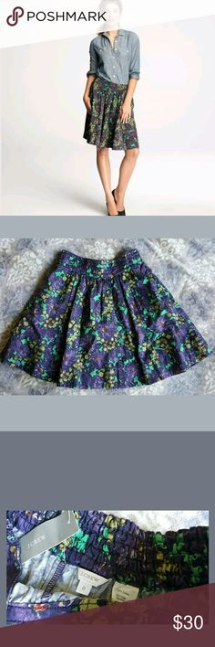 J. CREW A Line Purple Skirt with pockets Brand: J. Crew Size: 0 Condition: NEW  Flaws: none  Description: Purple floral print a line skirt. Elastic waist is stretchy. 2 pockets on both sides. J. Crew Skirts A-Line or Full