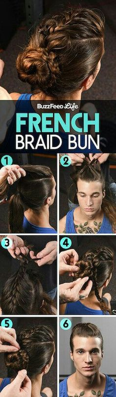 Ways To Style Your Hair For The Gym That Are Actually Awesome No one will care that your hair is hella dirty if it's in this fancy French braid bun.No one will care that your hair is hella dirty if it's in this fancy French braid bun. Headband Hair Tuck, Headband Hairstyles, Easy Hairstyles, Bun Hairstyle, Wedding Hairstyles, Hair And Beard Styles, Short Hair Styles, French Braid Buns, French Braids Men