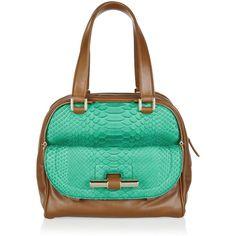 Jimmy Choo Justine leather and python tote ($1,699) ❤ liked on Polyvore featuring bags, handbags, tote bags, purses, bolsas, borse, jade, green leather handbag, leather tote handbags and leather tote