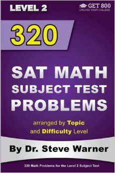 320 SAT Math Subject Test Problems - Level 2. Available on Amazon: http://www.amazon.com/gp/product/1499396678/ref=as_li_tl?ie=UTF8&camp=1789&creative=9325&creativeASIN=1499396678&linkCode=as2&tag=drstssamaprpa-20&linkId=CHLIPING66E7QR6H&keywords=sat+math+level+2