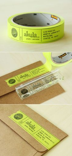 Stamp on colored masking tape using an address stamp, or any stamp you want. Love this idea! #BusinessCards