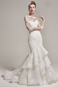 Featured Dress: Maggie Sottero; Wedding dress idea.