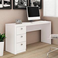 Mesa para Escritório ME4102 3 Gavetas Branco - Tecno Mobili