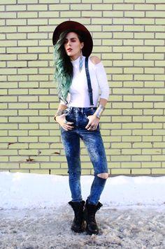 Bewolf Blog... #indiverve #beadedearrings #turquoisestonering #septum #burgundymakeup #suspenders #denim #fedorahat #cutoutshouldertop www.bewolfclothing.com www.store.indiverve.com