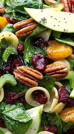 A simple pasta + spinach salad with crunchy apples, celery, and toasted pecans, chewy dried cranberries, sweet mandarine oranges and coated in a delicious poppyseed vinaigrette. ❊