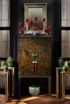 The Dark Side - Period Townhouse with Dark Décor - OKA - This Peking cabinet b.-- The Dark Side – Period Townhouse with Dark Décor – OKA – This Peking cabinet by OKA has a hand-painted Chinoiserie design around three sides of the cabinet, – Asian Furniture, Chinese Furniture, Oriental Furniture, Luxury Furniture, Antique Furniture, Asian Inspired Decor, Asian Home Decor, Feng Shui, Oriental Decor