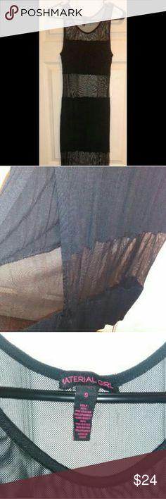 Material Girl Long Maxi Dress Material Girl Women's Black Mesh and Cotton Long Maxi Dress Material Girl Dresses Maxi