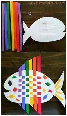 food crafts for kids ; food crafts for toddlers ; food crafts for kids edible ; food crafts for kids paper ; food crafts for toddlers edible Preschool Crafts, Fun Crafts, Arts And Crafts, Preschool Food, Ocean Crafts, Rainbow Crafts, Shape Crafts, Paper Weaving, Weaving Projects