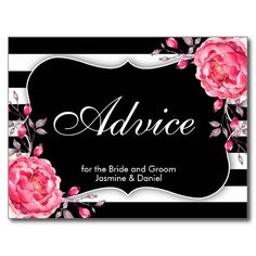 Floral Black & White Striped Wedding Advice Cards Card.
