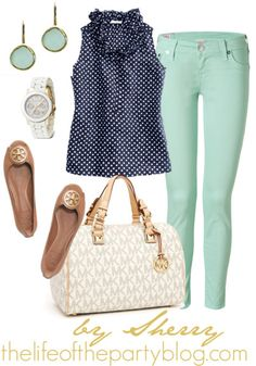 These mint pants are perfect for spring. A flirty polka dot top and killer accessories dress it up a bit.  Love mint & navy!