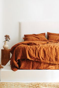 Ultra luxurious pure French linen quilt cover in Ochre Ultra luxurious pure French linen quilt cover in Ochre Click The Link For See Big Bedrooms, Teen Girl Bedrooms, Contemporary Bedroom, Modern Bedroom, Contemporary Kitchens, Cozy Bedroom, Bedroom Decor, Ochre Bedroom, Copper Bedroom