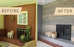 Before & After: A Kitschy Midcentury Fireplace Goes From Shabby to Chic - Design*Sponge -- like the look but wood not up to code