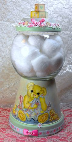 Cottonball Holder made from a terracotta pot......OMGosh this is the cutest thing I have ever seen!!!!
