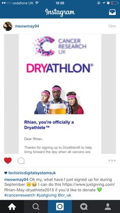 I'm not drinking for a whole month for Cancer Research UK, please donate for a good cause. http://www.justgiving.com/Rhian-May-dryathlete2015