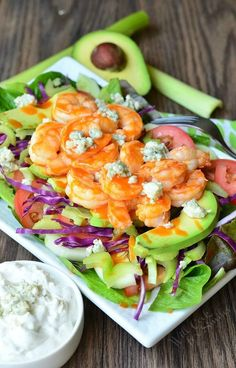 Buffalo Shrimp Salad with Homemade Blue Cheese Dressing. #recipe #dinner #sauce