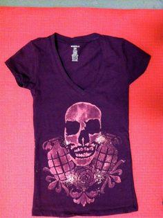Custom shirt design #freeloadapparel #bleached #handmade #freeloadapparel #fashion #design #apparel #bleacheddesign  #stencil #skull #grande #handmade