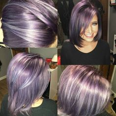 We've gathered our favorite ideas for Dimensional Lavender By Karlycerrone Achieved Using, Explore our list of popular images of Dimensional Lavender By Karlycerrone Achieved Using in grey with purple hair color. Haircut And Color, Hair Color And Cut, Pastel Hair, Ombre Hair, Great Hair, Hair Highlights, Purple Highlights, Hair Today, Hair Dos