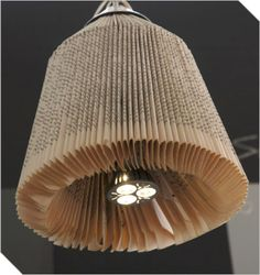 Recycled used book lamp shade created with folded book pages  and finished with brushed aluminium ceiling cup