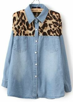 Blue Contrast Yellow Leopard Bleached Denim Blouse pictures