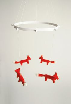 baby crib mobile / orange foxes mobile  FIRE FOXES  by Patricija, $106.00