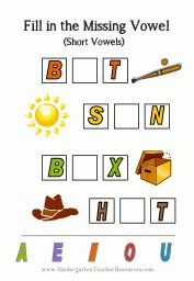Missing Short Vowel Worksheets