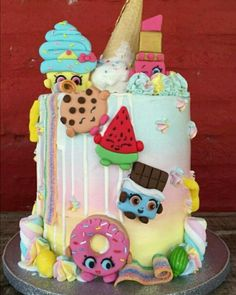 Shopkins buttercream drip cake